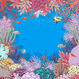Underwater Background with Corals  and Fishes Royalty Free Stock Photography