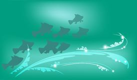 Underwater background with fish, vector illustration for design works and banners. Underwater background with fish and light patterns, vector illustration for Royalty Free Stock Photography