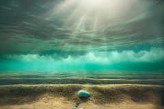 Underwater background with sandy sea royalty free stock image