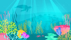 Underwater background with sea flora. Vector cartoon style underwater background with sea flora and fauna. Coral reef, sea plants and fishes silhouettes vector illustration