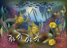 Underwater background ship and tropical fish Stock Photography