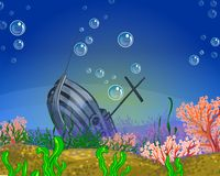 Underwater background. Shipwreck. Royalty Free Stock Photo