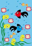 Underwater background with small fishes Stock Images