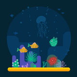 Underwater background with various tropical fish Royalty Free Stock Photo