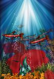 Underwater banner with fish Cardinal tetra and Herichthys Carpintis Super Red Royalty Free Stock Image