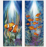 Underwater banners with clownfish, vector Stock Photos