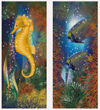 Underwater banners with seahorse and fish Stock Photography