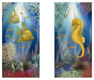 Underwater banners with tropical fish, vector Royalty Free Stock Photo