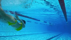 Underwater beautiful woman swimming in clear pool stock video footage