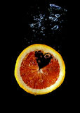 Underwater blood orange heart-shape Stock Photography