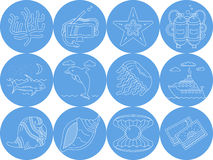 Underwater blue round icons. Set of round blue icons with white line elements of sea leisure and underwater creatures on white background Royalty Free Stock Image