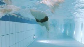 Underwater boy in aquapark stock video footage
