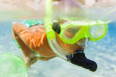 Underwater boy snorkeling Stock Photos