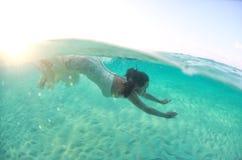 Underwater bride in Maldives Royalty Free Stock Photo