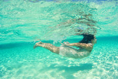 Underwater bride in Maldives Royalty Free Stock Photos