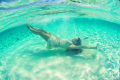 Underwater bride in Maldives Royalty Free Stock Photography