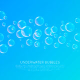 Underwater Bubbles. Abstract underwater background with transparent bubbles Stock Illustration