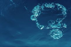 Underwater bubbles with sunlight. Underwater background bubbles. Underwater royalty free stock photos
