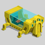 Underwater bunker with a living room and furniture. Unusual location for your design needs Stock Photography