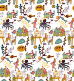 Underwater business office life seamless pattern. Royalty Free Stock Image