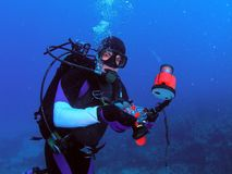Underwater Camera and Diver. This diver was adjusting his camera settings at 50 feet. We were diving the Abby Too reef in Pompano Beach, Florida stock photo