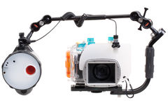 Underwater camera with strobe Stock Photo