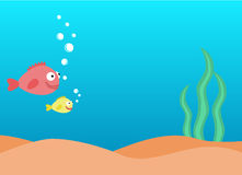 Underwater card for children. Colorful underwater background, undersea world with fishes and seaweed with place for text Royalty Free Stock Image