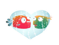 Underwater Cartoon Fish in Love with Blue Heart Stock Image
