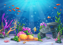 Underwater cartoon illustration Royalty Free Stock Images