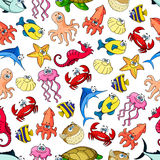 Underwater cartoon seamless pattern background. Cute sea and ocean cartoon animals and fishes. Seamless pattern background with underwater funny characters. Kids Royalty Free Stock Photos