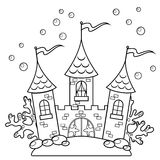 Underwater castle. Black and white vector illustration for coloring book. Vector illustration Royalty Free Stock Photos
