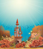 Underwater castle and coral reef. Underwater castle and colorful coral reef with tropical fishes. Vector seascape illustration Stock Photos