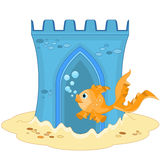 Underwater Castle and Gold Fish Royalty Free Stock Photography