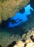 Underwater cave royalty free stock photos