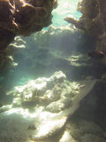 Underwater Cave. Sunlight entering the water in an underwater cave Royalty Free Stock Photos
