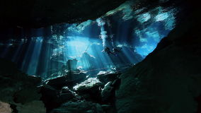 Underwater cave in Mexican Yucatan Dos Ojos cenote. Underwater stalactites and stalagmites in landscape Mexican Sacred Mayan Cenote. Deep underground clean and stock video