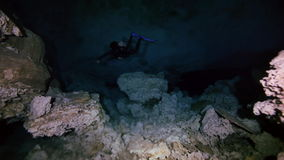 Underwater cave in Mexican Yucatan Dos Ojos cenote stock video