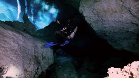 Underwater cave in Mexican Yucatan Dos Ojos cenote stock video footage