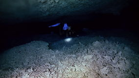 Underwater cave in Mexican Yucatan Dos Ojos cenote. Underwater stalactites and stalagmites in landscape Mexican Sacred Mayan Cenote. Deep underground clean and stock footage