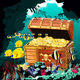 Underwater cave with an open pirate treasure chest Stock Images