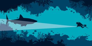 Underwater cave, scuba diver, shark, coral, fish, sea. royalty free illustration