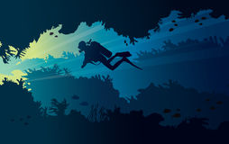 Underwater cave and scuba diver. Silhouette of scuba diver and coral reef with fish on a blue sea. Vector illustration with tropical underwater cave Stock Photo