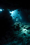 Underwater cave and sunlight stock image