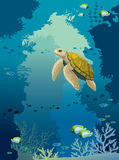 Underwater cave, turtle, coral reef, fishes and sea. Cartoon yellow turtle, coral reef with fishes and underwater cave on a blue sea background. Vector Royalty Free Stock Photo