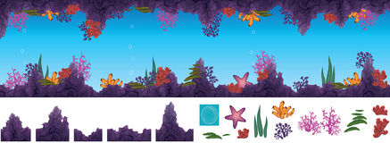 Underwater cave. Vector illustration of underwater cave with corals Stock Photography