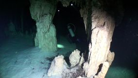 Underwater caves in Yucatan. Scuba diving in Mexico. Rocks and stones of cenotes in pure water stock video