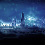 Underwater City. One of the series of unique underwater city illustrations. High quality, extreme detail, one of a kind atmosphere, effects and design Stock Photography