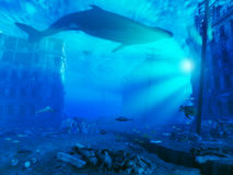 Underwater city. 3d rendering concept Royalty Free Stock Photo
