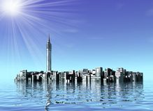 Underwater city in ocean. Three dimensional illustration of futuristic city partially underwater in sea with blue sea and sunshine in background Stock Photography