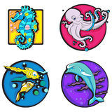 Underwater clip art icons Royalty Free Stock Photo